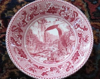 English Johnson Bros Brothers Pink Red Transferware Historic America The Natural Bridge Virginia Fruit Berry Bowl - 8 Available