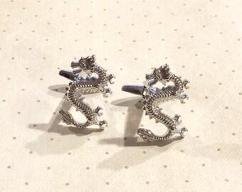 Dragon Cufflinks Cuff Links in Silver