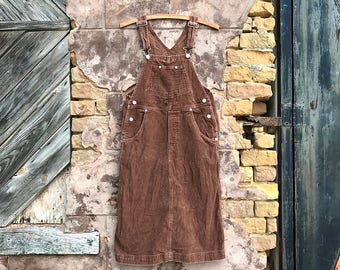 Vintage Brown Corduroy Overall Dress | xs