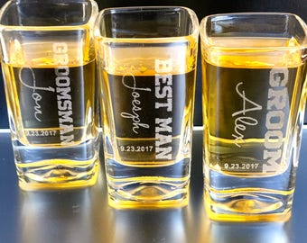 Personalized Shot Glass, Groomsman Gift, Bridesmaids Gift, Bridal Party Gift, Party Favors, Wedding Party Gifts, Groomsmen  Shot Glasses