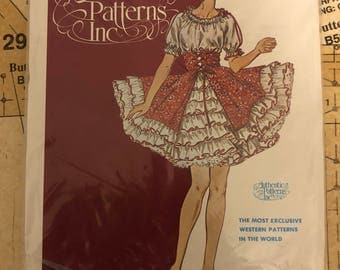 UNCUT Square Dance Dress Sewing Pattern Authentic Patterns 317 Western Wear Size 6 8 10 Peasant Bodice Ruffles Full Skirt Corset Lace Up