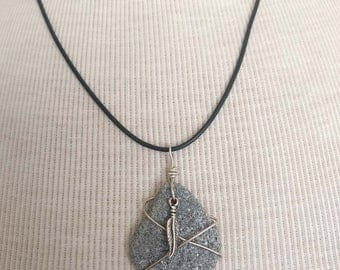 Beach Stone Necklace/Pendant/Feather/Sterling Wire Wrapped Leather/Jewelry/Urban Boho/Maine