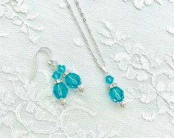 Bridesmaid Earrings/Pendant Set, Bridal Jewelry Set, Wedding Jewelry Set, Bridal Party Earring/Pentant Set