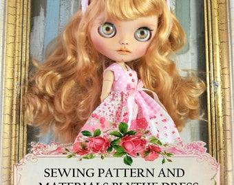 Patrones de costura vestido blythe, materiales e instrucciones vestido, tutorial costura blythe, patrón vestido blythe y diadema