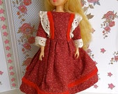 VINTAGE, VICTORIAN -style, DRESS for all very slender 9 in/20cm dolls - Madame Alexander Portrette, Suzanne Gibson and Takara Licca Chan and