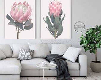 KING + QUEEN PROTEA Duo - 2 x Wall Art Print Poster Canvas - On Trend