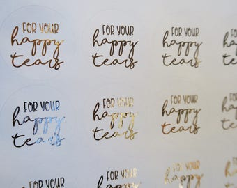 12 For Your Happy Tears Rose Gold Foiled Tissue Packet Stickers