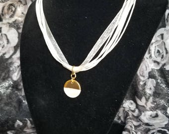 White & Gold Disc Necklace