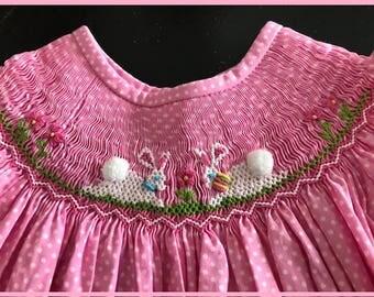 Bunny Smocked Bishop Dress Pink Dots
