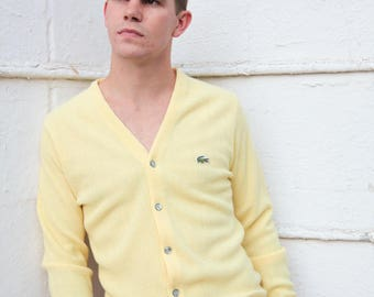 """RARE FIND Vintage IZOD Cardigan/Yellow Lacoste Cardigan/Retro Izod Sweater/60's Izod Lacoste Cardigan/Size S/28""""Long/22""""Chest/23""""Sleeve"""