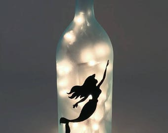 The Little Mermaid Wine Bottle Lamp / Ariel / Nightlight