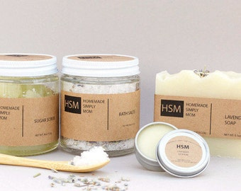 Bath and Body Set with soap, scrub, bath salts and lip balm, Spa Gift Box, Gift for Her, Christmas gift idea, Birthday gift for her