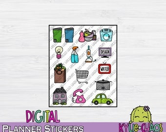 Household Chores Digital Planner Stickers for GoodNotes Planners