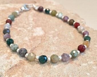 Multicolored bracelet, colorful bracelet, jasper bracelet, Hill Tribe silver bracelet, sundance style bracelet, gemstone bracelet