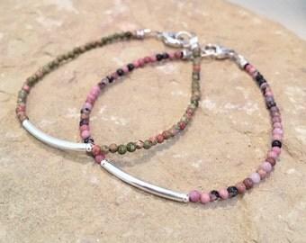 Pink or green bracelet, rhodonite bracelet, unakite bracelet, sterling silver bracelet, Hill Tribe silver bracelet, boho bracelets