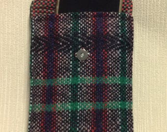 Welsh tweed phone case, cell case in green, black, red & purple