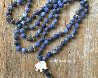 Sodalite Necklace, Prayer Beads, Tassel Necklace, Elephant Energy, Healing Stones, Meditation, Lava Beads, Tibetan Prayer Necklace, Blue