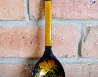 Russian Khokhloma lacquered wooden spoon, ladle, strawberry motif, folk art, vintage 1970s