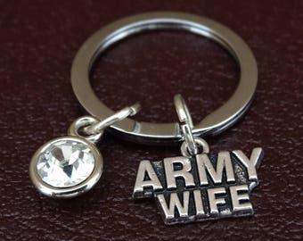 Army Wife Keychain, Army Wife Key Chain, Army Wife Charm, Army Wife Pendant, Army Wife Gifts, US Army Wife Keychain, US Army Wife Key Chain
