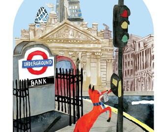 Fox in London - A6 Card
