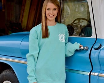 Monogrammed Comfort Colors Sweatshirt - womens sweatshirt - personalized - monogram fleece - monogrammed sweatshirt for women