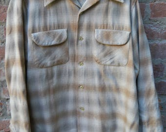 Pendleton Shadow Plaid Board Shirt 1960's 1970's L Large Taupe Loop Collar Flap Pockets 100% Virgin Wool Made in USA