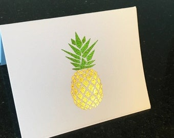 Hospitality Pineapple | 8 Thermal Foiled Notecards | Folded Note Cards