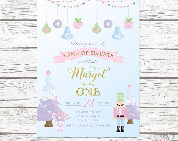 Nutcracker Invitation, Nutcracker Birthday Invitation Girl, Winter Birthday Invitation Girl, Sugarplum Fairy Nutcracker Invite, 1st Birthday