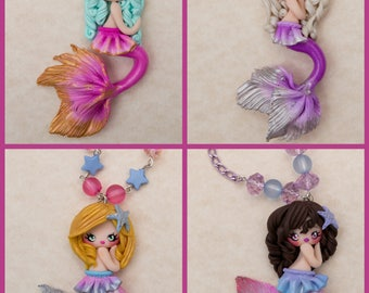 Mermaid Mermaid necklace/Necklace Handmade Polymerclay/Fimo