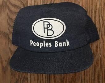 Vintage Peoples Bank Mesh Trucker Hat Snapback Baseball Cap * Made In USA