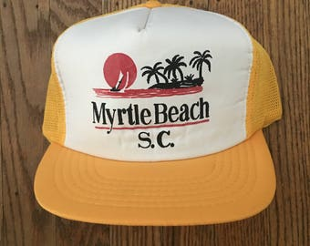 Vintage Myrtle Beach South Carolina Vacation Tourist Travel Mesh Trucker Hat Snapback Hat Baseball Cap