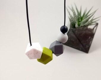 Silicone Teething Necklace - Granite, Khaki, Grey & Black | New Mum Gift | Baby Shower Gift | Nursing necklace | Geometric necklace