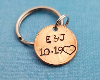 Valentines Day Gift - Coin Jewelry - Anniversary Gift - Lucky Penny - Gift for Boyfriend - Custom Penny - Penny Keychain - 1st Anniversary