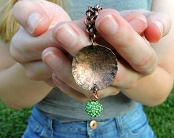 Boho Necklace Long, Boho Necklace Handmade, Copper Boho Necklace, Green Crystal Necklace, Long Simple Necklace, Long Copper Necklace