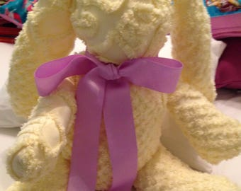 vintage chenille stuffed blue or pink bear yellow bunny or puppy grosgrain ribbon 12 inches huggable washable vintage chenille repurposed