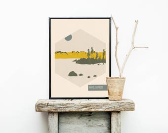 Lake Tahoe - Rustic Decor - Lake Tahoe Poster - Lake House Decor- California Print - Minimalist Poster – Mountain Range - Home Décor