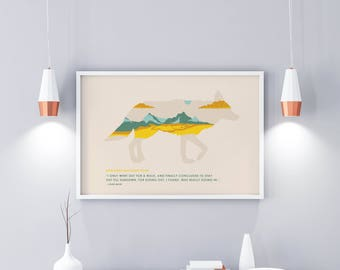 National Park Poster - Badlands - Hiking Travel Poster Vintage - Colorado - Badlands National Park  - John Muir Quote - Minimalist Poster