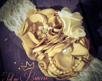 Fancy Satin Singed flower headband
