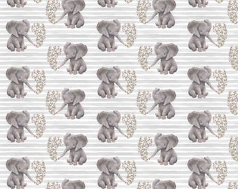 Floral elephant on stipes crib bedding - safari, crow, princess, leave, baby girl, nursery, fitted sheet, changing mat cover, bumpers