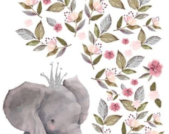 Floral elephant Minky Blanket, safari blanket, elephant , crown, flowers, baby girl, princess