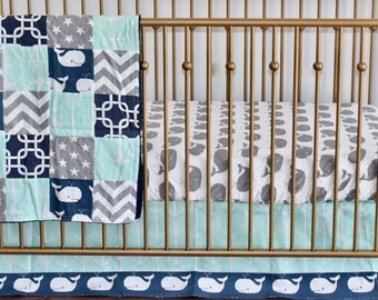 SHIPS TOMORROW - SALE -Navy, Mint and Gray Whales and Anchors, Crib Bedding, patchwork blanket,skirt, sheet