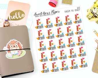 Bacon Planner Stickers - Kawaii Planner Stickers - Date Night Planner Stickers - Sarcastic Stickers - Breakfast Stickers - 031