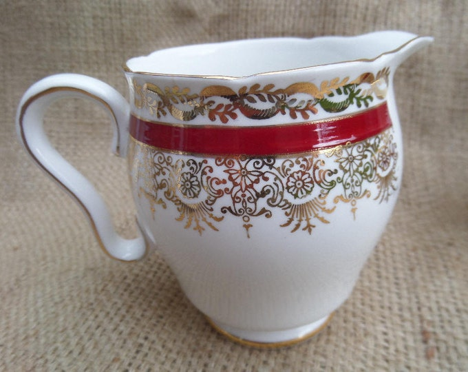 FREE SHIPPING Creamer, Milk Jug, English Bone China, Gladstone China, Crimson Red & Gold, Matching Pieces Available, Immaculate Unused