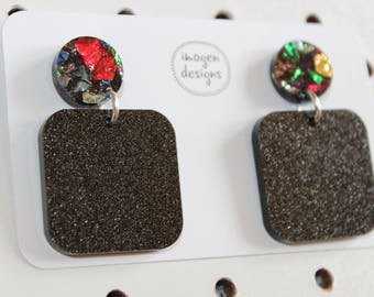 Kaleidoscope and black glitter dangles - acrylic glitter earrings