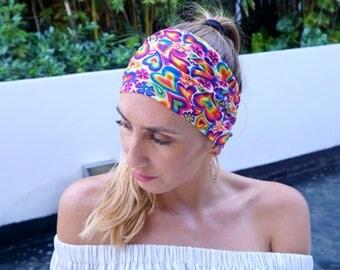 Yoga Headband Heart Print / Wide Yoga Headbands / Fitness Headband / Running Headband / Yoga Wide Headband / Womens Headbands / Gift For