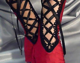 Long spandex red lace up fingerless gloves black satin ribbon