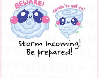 Storm and Tornado Warning    Planner Stickers, Cute Stickers for Erin Condren (ECLP), Filofax, Kikki K, Etc.    DPS186