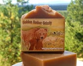 "Soap - ""Golden Amber Grizzly"" - Men's Soap, Wild Country Soap, Amber Soap, Gift Soap, Cold Process, Animal Soap, Bear Gift, Grizzly Bear"