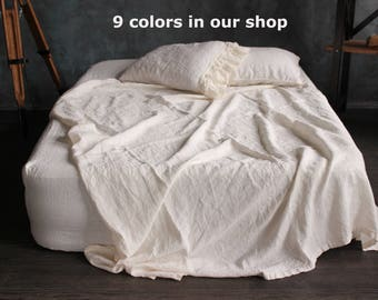 100% Frill Linen Sheet Set Stone Washed Organic Sheets with Pillowcase with ruffles Twin Full Queen CalKing size Pre Washed Shabby linen