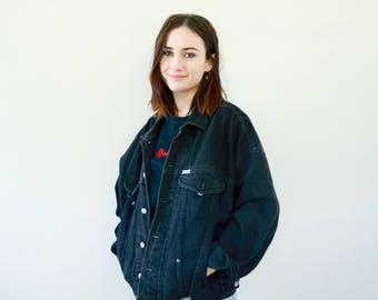 Vintage Black Denim Jacket 1980s GUESS